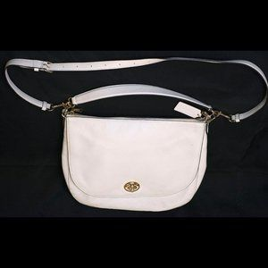 Coach White Pebbled Leather Messenger-Style Bag